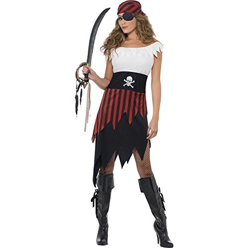 Smiffy's Women's Pirate Wench Costume, Dress and Headpiece, Pirate, Serious Fun, Size 10-12, (Pirate Of Caribbean Costume)