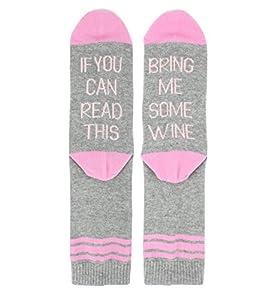 Novelty Wine Funny Crew Pink Socks for Women