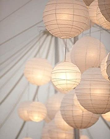 White, 12inch : Decorative Candle Lanterns Lantern Party White Round Paper Lampshades Lantern Shades For Festival Party pc 3
