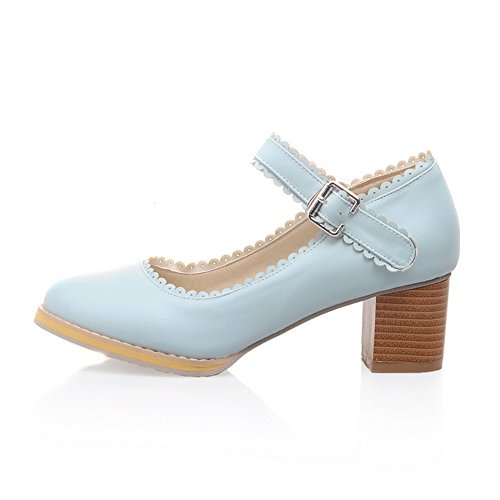 Work Middle Lace Blue Toe Round Heels Chunky High Pumps Women's Shoes Student Office Ladies fereshte Wedding Bridal vCUwqgq