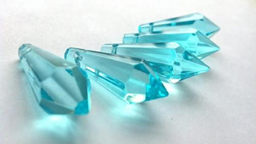 10 Caribbean Green Teardrop Chandelier Crystals Prism 38mm Teal Pendant