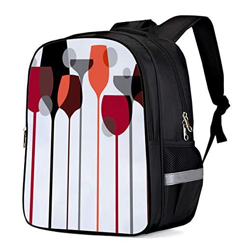 School Backpacks for Girls/Boys/Kids, Modern Art Design Goblet Red Wine Glass Pattern Printed Primary School Bags Students Bookbag Laptop Bag Travel Casual Daypacks
