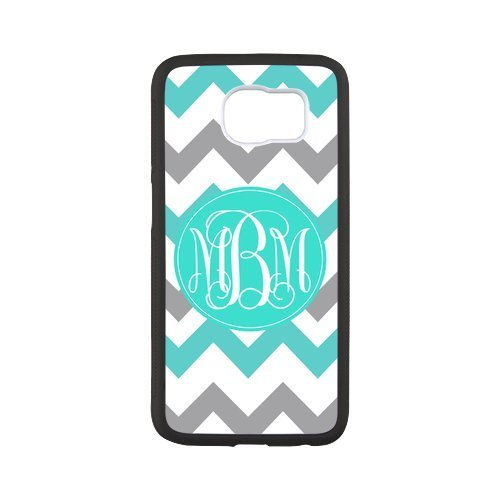 Ifuoff Amazing Cyan And Grey Zigzag Chevron Vs Oval Monograms Customized Protective Snap On Fashion Case For Samsung G9200 Galaxy S6  Black Or White 2 Colors