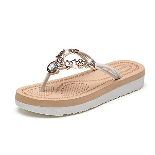 Women's Flip Flop Sandals Soft Casual Sandals for Women Beach Wear Comfort Thong Style in Summer or Holiday - Cream 9.5 M US(Tag EU 40) - Flip Charm Flop Sandal