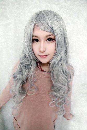 Peluca gris plateado gris plateado cosplay peluca larga Angel santuario Rosiel gris plateado ondulado pelucas 90cm