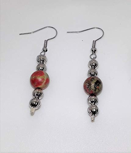 (Unakite Gemstone Hook Drop Earrings with Silver Bail and Beads)
