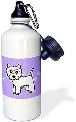 White 21 oz 3dRose wb/_58606/_1Cute Cartoon West Highland Terrier Westie Dog on Purple Paw Prints Sports Water Bottle