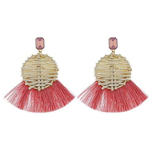 Peigen Rattan Earrings for Women Lightweight Geometric Statement Earrings Handmade Straw Wicker Braid Rhombus Hoop Drop Dangle Earrings