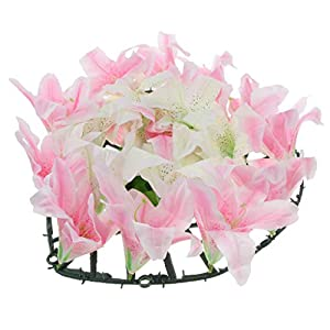 D DOLITY Simulation Silk Lily Flower Memorial Day Flower Arrangement Cemetery Flower Wreath 38