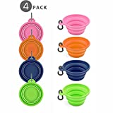 Cheap Flexzion Dog Collapsible Bowl Silicone Pop Up Travel Feeder Pet Cat Puppy Animal Food Water Container Dish Portable with a Free Carabiner Clip Home Outdoor Use (4 Color)