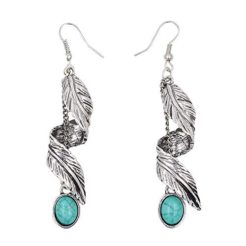 (Beauty7 Women Antique Bohemian Style Spiral Twist Feather Leaf Long Chain Tassel Turquoise Pendant Dangle Drop Earrings Fish Hook End Soiree Daily Wedding Party Silver)