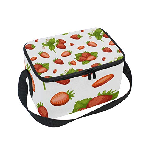 Nice Red Strawberry Adult Lunch Box Lunch Insulated Bag Large Cooler Tote Bag for Men, Women Large Soft Cooler Insulated Picnic Bag