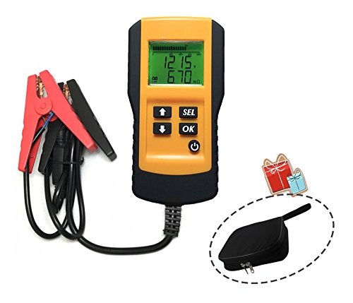 Handheld Battery Tester (Digital Handheld Car Battery Load Tester 12V Smart LCD Analyzes Battery Life Percentage, Voltage, Resistance and CCA Value For Gel, AGM, Flood, Deep Cycle Check (Yellow) with Case)