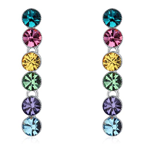 (CNCbetter Women Fashion Multicolor Swarovski Elements Crystal Summer Charms Round Dangle Long Earring)