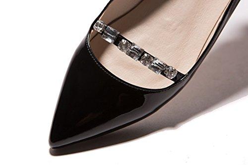 Balamasa Da Donna In Vetro Con Diamante Scava Fuori Modello Leopardo Tomaie In Pelle Verniciata Tomaia Scarpe Basse