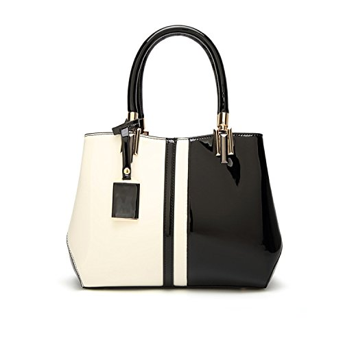 Messenger Black Painted Evening Bag Leather Myj Bag Female Shiny Black Shoulder Contrast EfvwqF