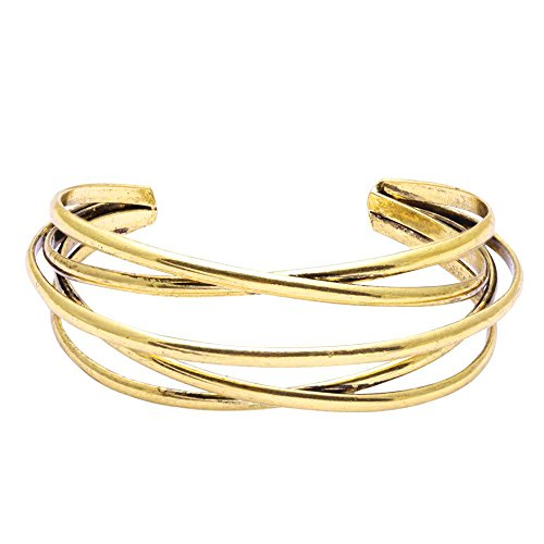 BEICHUANG Multi-Layer Ancient Bronze Wire Cross Hollow Out Retro Ethnic Puck Adjustable Bangle Bracelet (Gold)