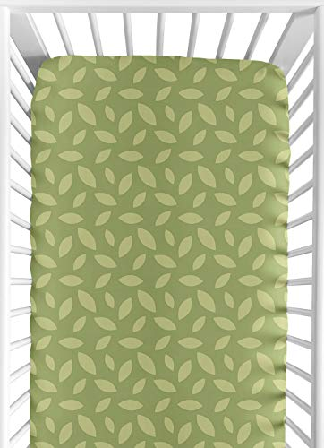 Jungle Time Fitted Crib Sheet for Baby and Toddler Bedding Sets by Sweet Jojo Designs - Green Leaf Print
