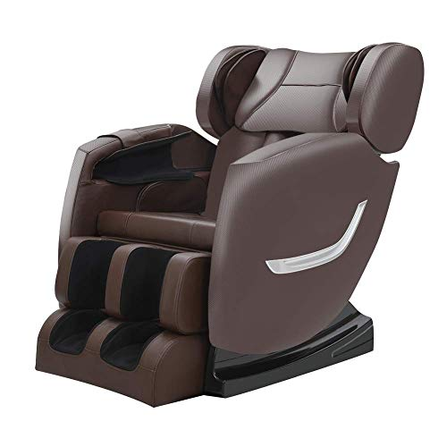 Massage Chair Zero Gravity Full Body Shiatsu Recliner with Heating back and Foot Rollers Massage(Brown)