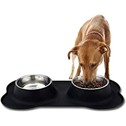 No Spill Bone Silicone Mat Double Stainless Steel Dog Bowls Insert, Non-Skid Feeder Mat Set of 2 Pet Bowls for Dogs Cats Puppies by VOAO