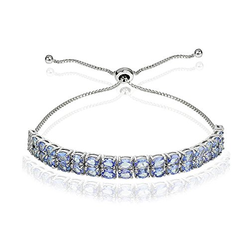 Sterling Silver Tanzanite Oval-Cut Two Row Adjustable Tennis (Genuine Tanzanite Bracelet)