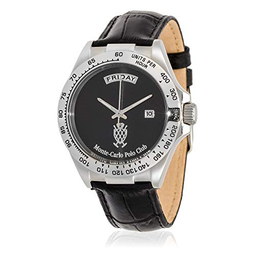 Leather Watch Monte Carlo (Monte-Carlo Polo Club Mens Classic Quartz Watch with Black Dial and Black Croco Leather Strap)