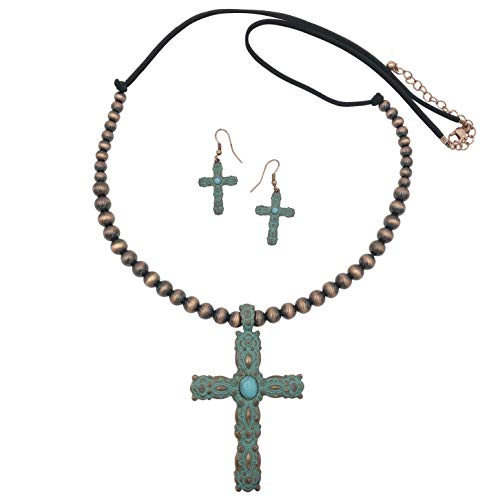 (Gypsy Jewels Long Cross Imitation Turquoise Stone Western Style Necklace & Earrings Set (Copper Tone Patina))