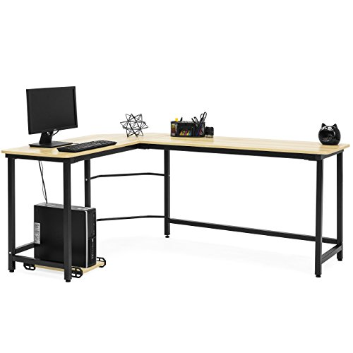 - Best Choice Products Modern L-Shaped Corner Desk w/CPU Stand - Light Brown
