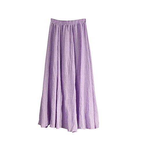 MISSMAO Jupe Femme Longue Casual Jupe Plisse Confortable pour Quotidien Porter Danse Voyager lastique Violet