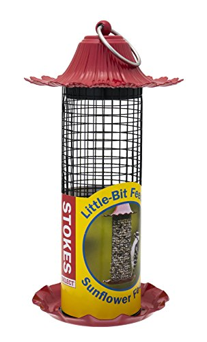 (Stokes Select Little-Bit Feeders Sunflower Bird Feeder with Metal Roof, Red, .5 lb Seed Capacity)