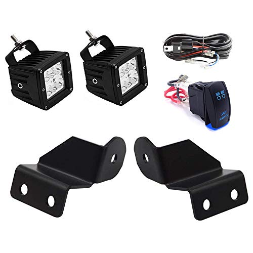 - Dasen Pro-Fit Cage Mount Brackets & 2x 18W LED Cube Lights w/Wiring Kit Fit Polaris Ranger 500 570 900 1000 XP 2013-2019 (Without any drilling/cutting)