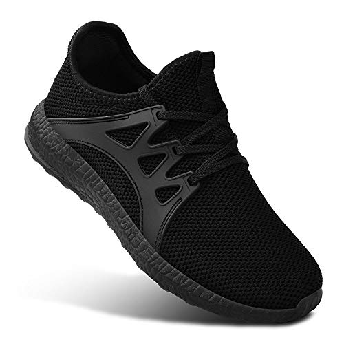 (Guteidee Mens Sneakers Running Walking Gym Sport Lightweight Breathable Mesh Street Shoes Black12)