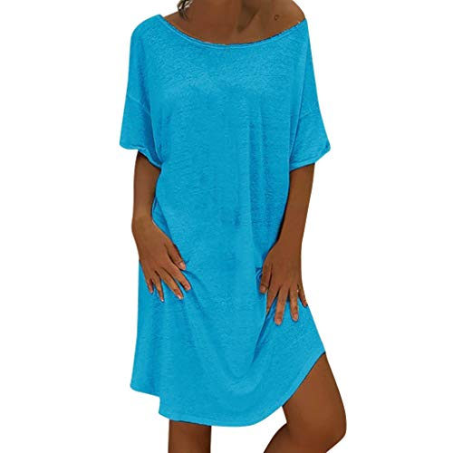Armoire Cotton (LUCA Women's Summer Solid Short Sleeve Feminino Vestido T-Shirt Cotton Casual Loose Plus Size Ladies Dress(Blue 2,XL))