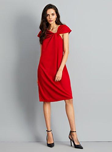 Azbro Mujer Vestido de Fiesta Coctel Lápiz Ajustado con Lazo Frontal del Color Sólido Rojo