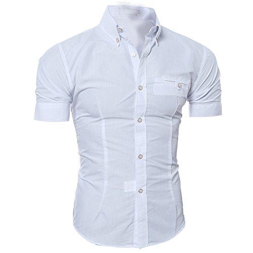 À Amlaiworld Courtes Manches Blanc Repassage Simple Hommes shirt T Business Sans Chemise Casual qrfAIwrxE