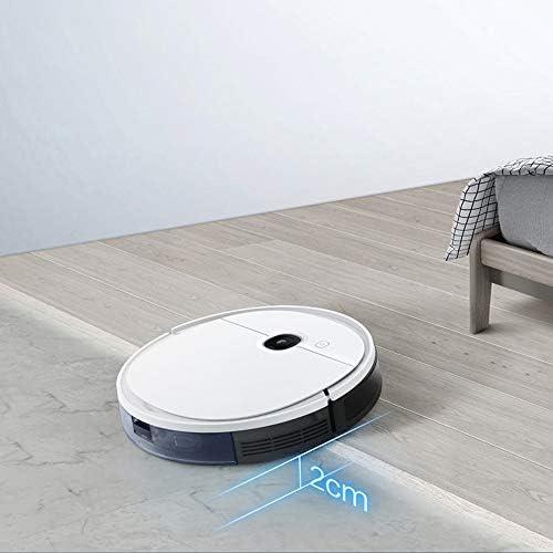 QWE Robot Aspirateur Forte Aspiration Mince Super Silencieux Facile Programme de Nettoyage et de Recharge Automatique pour Cheveux Pet Tapis Mince et Tous Les Types de Sol
