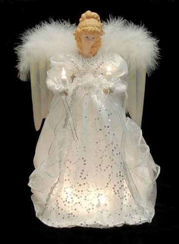 Clear Lights KSA 14 Ice Palace Lighted White /& Silver Angel Christmas Tree Topper