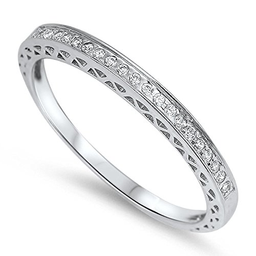 Wedding Antique Sets (Oxford Diamond Co Antique Style Pave Set Round Wedding Band .925 Sterling Silver Ring Size 9)