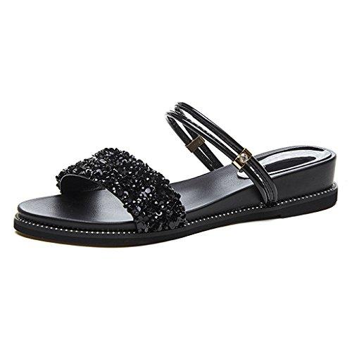 Size der Frau einem Boden Studentenschuhe der Paar Ein Schuhe flachen Sandalen Schuhe Color Rhinesteins flachen tragen zu Wort mit 36 zum der KaiGangHome flachen des Black vRq1wSTT