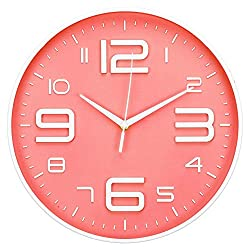 LONBUYS Red Silent Wall Clock,12 Inch No Ticking Quartz Clock 3D Numbers Battery Operated Round Easy to Read Modern Wall Clock Decor for School, Living Room, Bedroom, Office