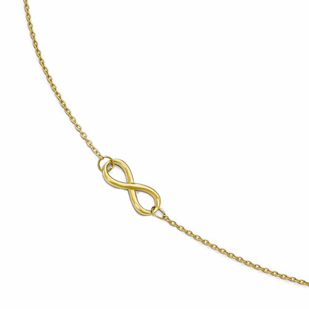 14k Yellow Gold Infinity Anklet 9 inches plus Extender