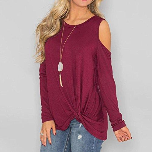 Shirt Casual Ningsun Donne Maglietta Superiore Rosso Colore Annodato Lunghe Loose Senza Eleganti Orlo Donna Spalla T Maniche Vino Puro Moda Camicetta Solido Freddezza Top 88qgcrRy