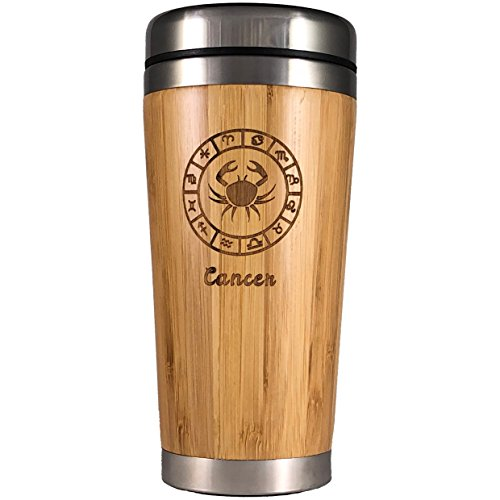 (The Zodiac Mug | Premium insulated travel mug for Coffee & Tea | Natural bamboo and Stainless Steel | 15.2 oz.(450ml) | Spill Proof Lid | Slip resilient base | Wooden engraving (Cancer))