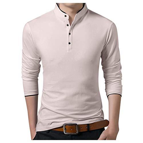 Men's Autumn Long Sleeve Print Bottoming Mandarin Collar Shirt Simple Henley T-Breathable Shirt Khaki (Good Land Henley Shirt)