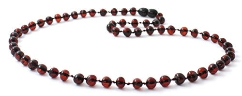 Baltic Amber Necklace for Adults - Size 23.5 inches (60 cm) - Suitable for Women and Men - Polished Cherry Amber Beads - BoutiqueAmber (23.5 inches, Cherry)