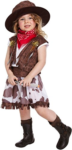 GUBA Little Girls' Cow Fancy Dress Party Costume Brown Toddler 2-4 Years (Little Girl Cowgirl Costumes)