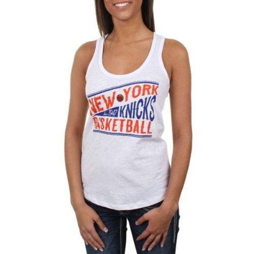 Rhinestone Beater Tank - New York Knicks White Buzzer Beater Rhinestone Tank Top T-shirt Medium