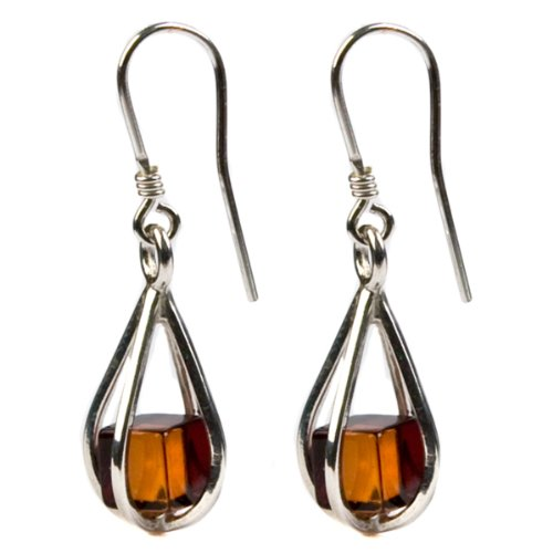 Amber cube Sterling Silver Millennium Collection Teardrop Earrings
