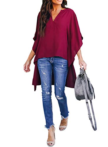 Asvivid Womens V Neck Half Kimono Ruffle Sleeve Tunics Asymmetrical Hem Loose Office Shirt Blouse L Red