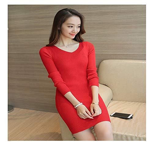 Maniche Rosso Shirloy Lunghe Maglia Fascino Dress Di Mid length Femminile Knit Maglione Slim A qRazZWqO